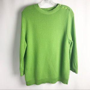 Talbots 3/4 Sleeve Cotton Boat Neck Sweater